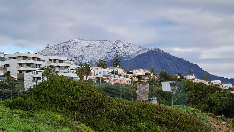 Sierra Bermaja Mountain with snow tops after storm Philomena